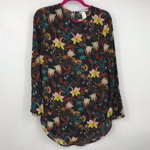 H&M Floral Black Tunic Semi Sheer Long Blouse 4